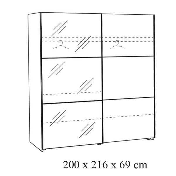 Twee-deurs-schuifdeurkast-Andante-20-tekening