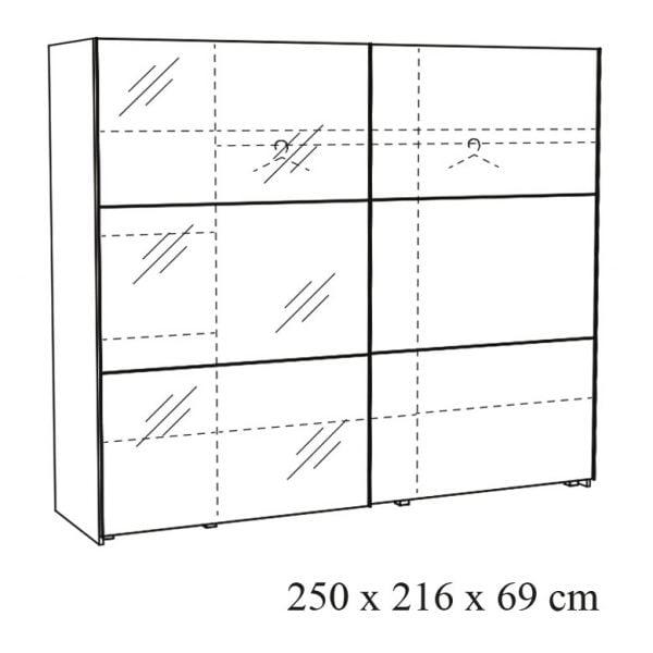 Twee-deurs-schuifdeurkast-Andante-25-tekening