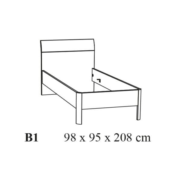 1-Persoons bed Romano tekening
