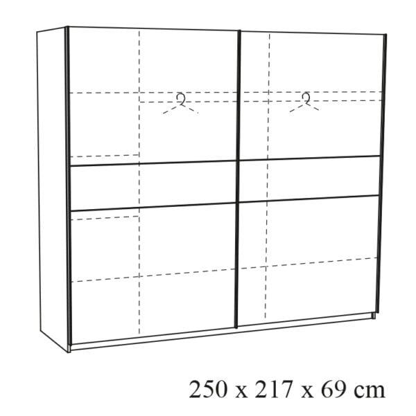 2-Deurs schuifdeurkast Rosalia-25 tekening