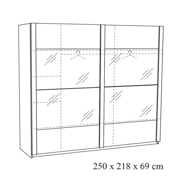2-deurs Schuifdeurkast Benja-25 tekening