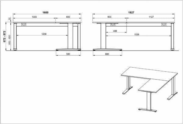 Aanbouwtafel Ergonoma-LGG